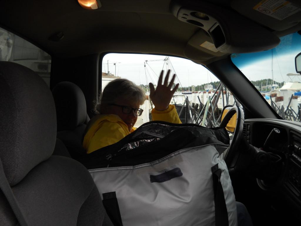 Susan piloting the pick-up truck