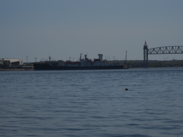 Mass Maritime Acadamy and the railroad bridge.