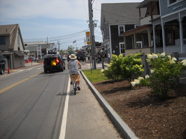 Riding through Oak Bluffs.